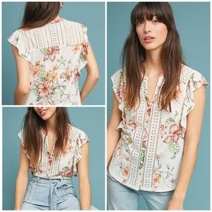 NWT Anthropologie Kailana Flutter-Sleeve Top Sz. M